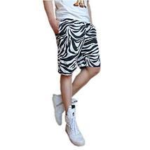 PANDA SUPERSTORE Fashion Zebra Stripe Men Shorts Beach Comfortable Pants for Sum