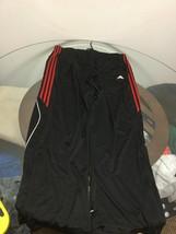 Men's Adidas Climalite Black Red Three Stripe Athletic Workout Pants 2XL - $23.75