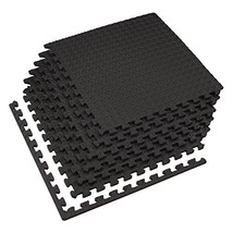Velotas Interlocking Foam Fitness Exercise Mats (24 Sq Ft (6 Tiles)|Black) - $43.94