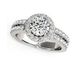14k White Gold Halo Diamond Engagement Ring With Double Row Band (1 3/8 cttw) - £5,672.95 GBP - £5,672.96 GBP