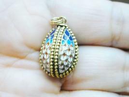 Vint Russian Ornate Gilt Sterling Enamel Beaded Egg Pendant Charm Colorful - $150.00