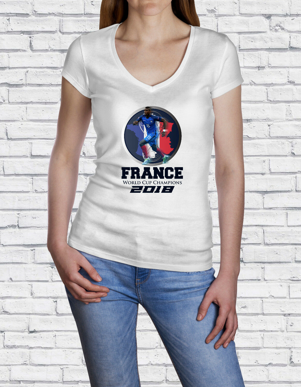 Soccer World Cup, Russia 2018, France Champion Theme, Women's V-Neck T-Shirt