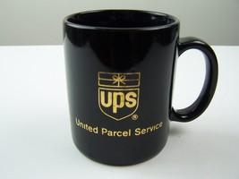 United Parcel Service UPS Vintage Shield Logo Coffee Mug Black & Gold - $9.69