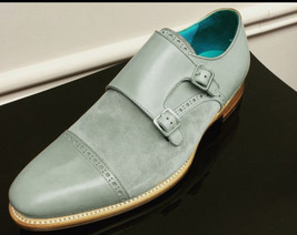 Handmade Men's Gray Suede & Leather Two Tone Double Monk Strap Shoes image 1