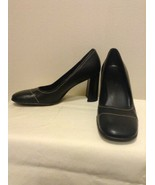 """NINE WEST - STOKED, Black Leather Pumps Stitched Cute 3 1/4"""" block heel,... - $19.95"""