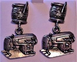 Sewing Machine Earrings Novelty Metal Pierced Earrings for Seamstress Un... - $20.00