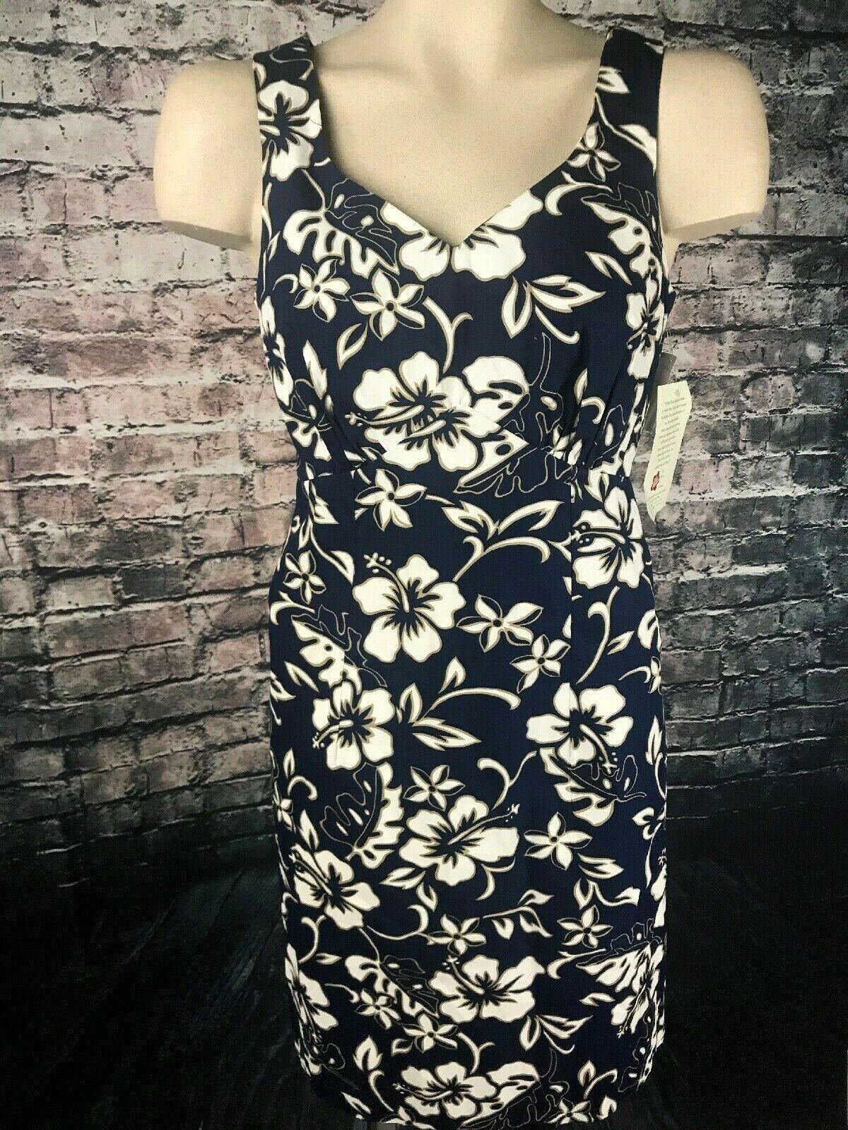 Hilo Hattie the Hawaiian original Women size 8 Dress Dark Blue White Floral NWT