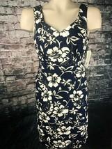 Hilo Hattie the Hawaiian original Women size 8 Dress Dark Blue White Floral NWT - $29.69