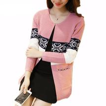 Sophisticated Geometric Print Knit Women Cardigan - $23.44