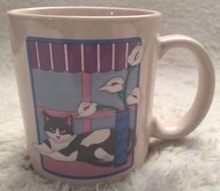 Vtg Otagiri Japan Black Mask Cat Mug Raised Embossed 3D Bay Window Lilli... - $9.79