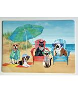 Dogs Cats at The Beach Umbrella Placemats Set of 4 Coastal Summer Beach ... - £25.92 GBP