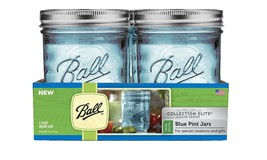 NEW Ball Mason Jars Wide Mouth Elite Collection Set of 4 Blue Pint 16 oz... - $12.56