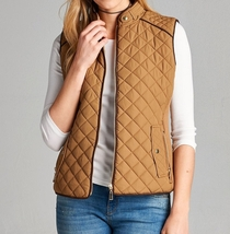 Camel Quilted Vest, Quilted Puffer Vest, Quilted Vest with Suede Piping, Size M