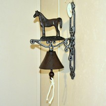 Painted Cast Iron Country Western Farm Horse Equine Decorative Mounted Bell image 2
