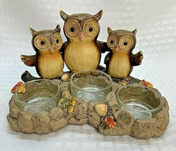Yankee Candle Triple Owl 3 Tea-Light Candle Holder Fall Halloween - $24.99