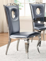 Modern Contemporary Chrome Dining Chairs Metallic Grey Faux Leather - Se... - $499.99