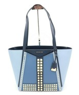 NWT MICHAEL Michael Kors Whitney Gold Studded Blue Leather Large Tote Ba... - $189.00