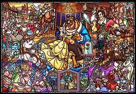 Tenyo Jigsaw Puzzle Beauty and The Beast Story stained glass 1000 Piece Japan - $73.23