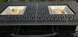 9 piece outdoor dining set with fire pit propane cast aluminum table and chairs  image 2