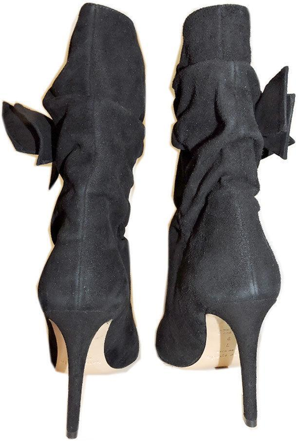 24918207517a  550 Kate Spade Black Nod Ruched Suede Mid-Calf Boots Boots Bootie Shoe 7-