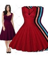Womens Vintage Elegant Sleeveless Polka Dot 1950s Rockabilly Evening Par... - $35.70
