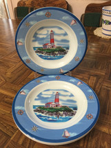 "Lighthouse Melamine Lot of Four (4) Nautical Bowls 9"" Diameter x 1 1/8"" ... - $21.78"