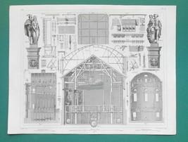 THEATER BUILDINGS Berlin Paris Cirque Olympique - 1844 Antique Print - $9.00