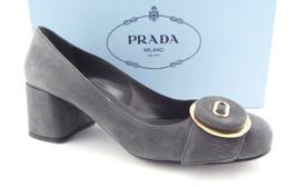 New PRADA Size 6.5 Gray Suede Logo Button Block Heel Pumps Shoes 36.5 - $389.00