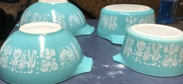 Pyrex Amish Butterprint Cinderella Mixing stacking Bowl 4 QT-444 Turquoise/whit - $130.00