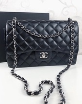 100% Authentic Chanel BLACK QUILTED LAMBSKIN JUMBO CLASSIC DOUBLE FLAP BAG SHW image 10