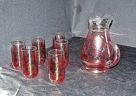Red Opaque Pitcher with 6 Matching Glasses AA18 - 1178 Vintage image 3