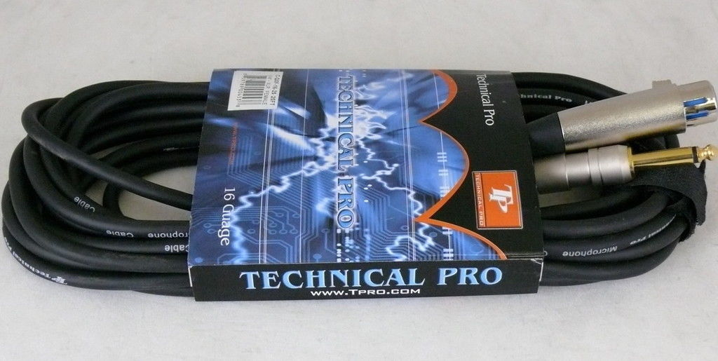 "Technical Pro 1/4"" to XLR Female Audio Cables 18 gauge 3 feet"