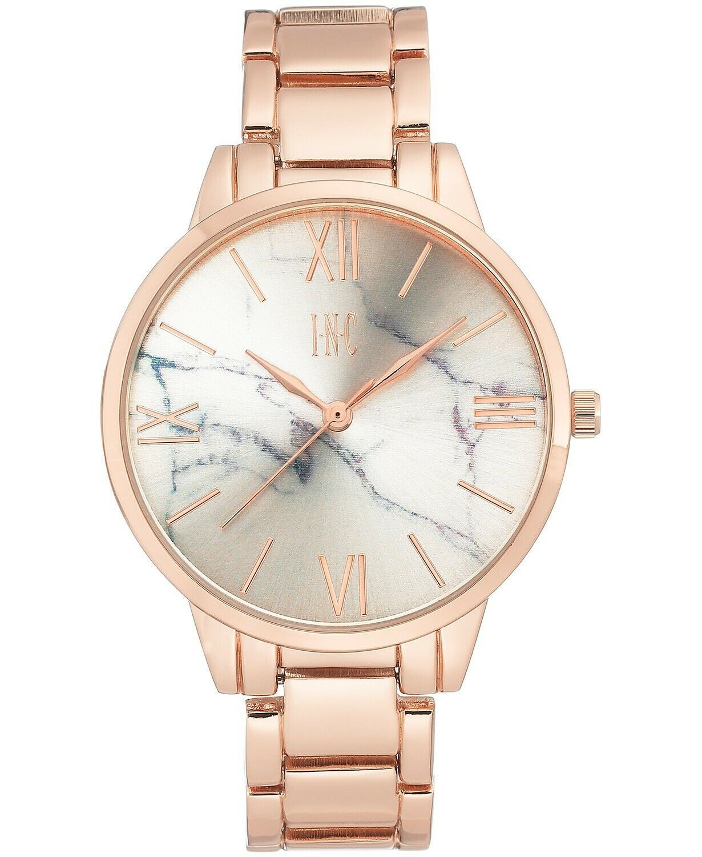 I.N.C. Women's Rose Gold-Tone w Silver Marble Dial 38mm Bracelet Quartz Watch