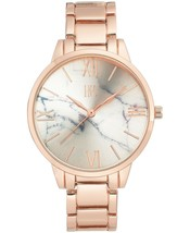 I.N.C. Women's Rose Gold-Tone w Silver Marble Dial 38mm Bracelet Quartz Watch