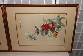 2 Extraordinary Japanese Painting on Silk Detailed Birds & Flowers VIVID... - $350.00
