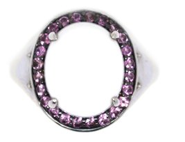 925 Silver Cabochon White Agate with Pink Topaz Ring image 5