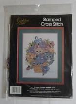 Golden Bee Stamped Cross Stitch Kit Cats In Flower Basket Vintage 1989 Kit - $21.99