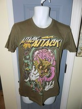 American Apparel Attack Attack Army Green Graphic Tee Size M Adult EUC - $18.63