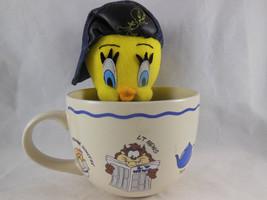 "Tweety Bird 9"" Plush in Denim Cap Looney Tunes Warner Brothers 1998 with MUG Cup - $13.85"