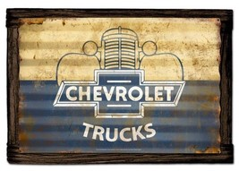 Chevrolet Trucks Rustic Corrugated Metal Sign with Barnwood Frame - $75.00