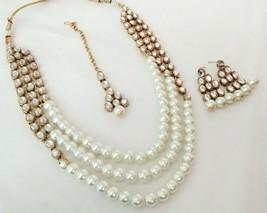 Indian Bollywood White Gold Plated Kundan Fashion Bridal Jewelry Necklace Set 2 - $22.79
