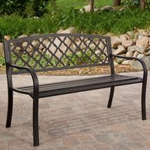 4-Ft Metal Garden Bench with Bronze Highlights over Antique Black Finish - $187.31