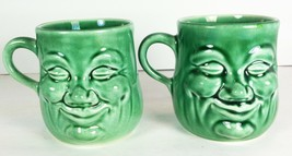 "2 Vintage Cadburys Genuine Snack Soup Mugs Green Smiling 3-1/2"" - $24.74"