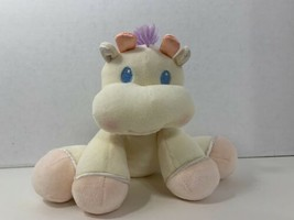 Learning Curve Eden plush cow calf baby rattle pink purple bow white stuffed toy - $19.79