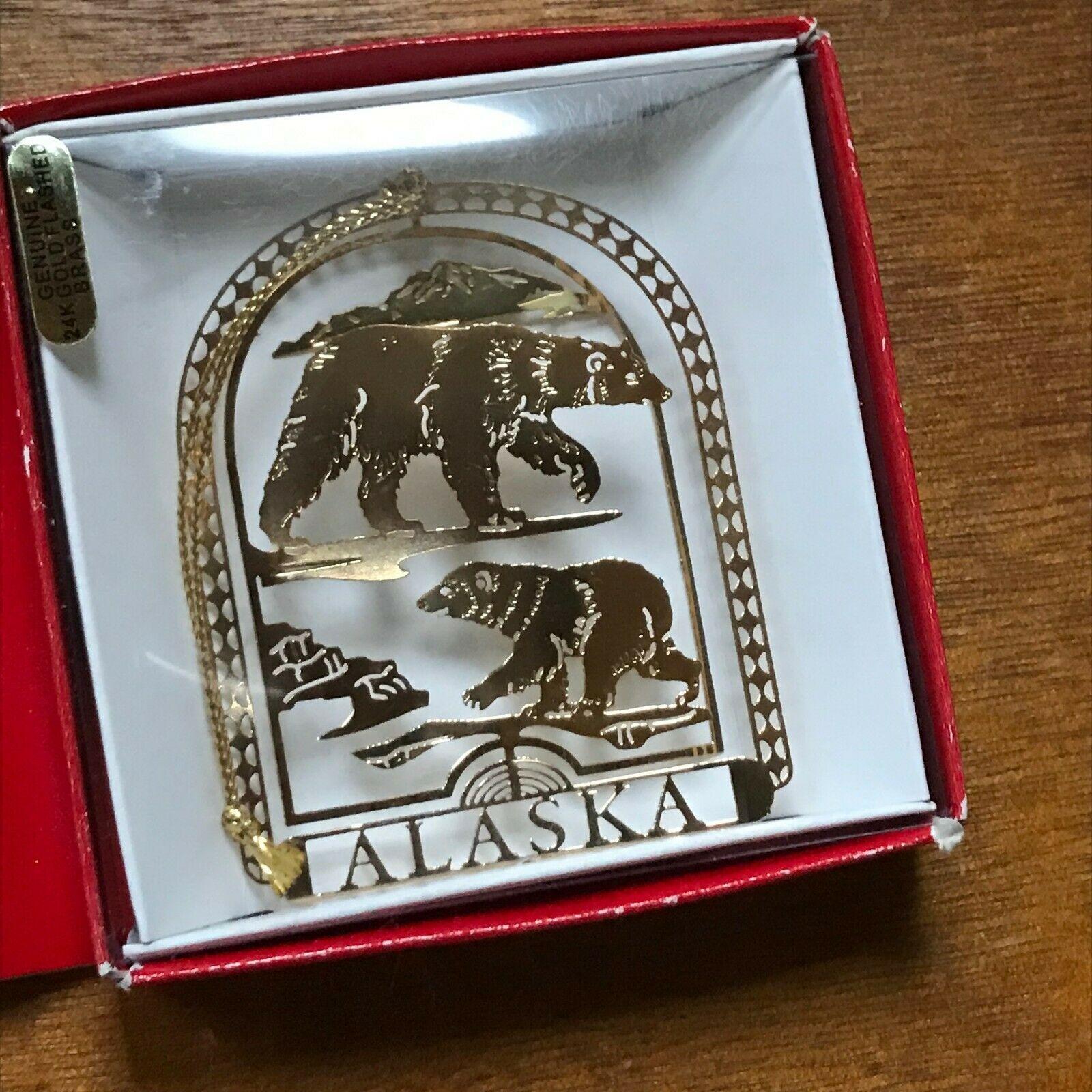 Estate 14K Gold Plated Alaska Bears Travel Souvenir Christmas Tree Ornament – 2.
