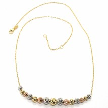 18K YELLOW WHITE ROSE GOLD NECKLACE, ALTERNATE FACETED WORKED BALLS SPHERES image 2