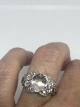Vintage Genuine Pale Pink Kunzite White Sapphire 925 Sterling Silver Siz... - $98.92