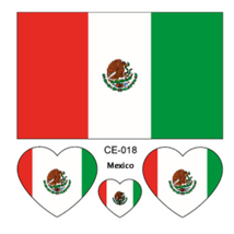set Flag Tattoo Stickers Heart-shaped on Face Figure Mexico World Cup 20... - $23.00