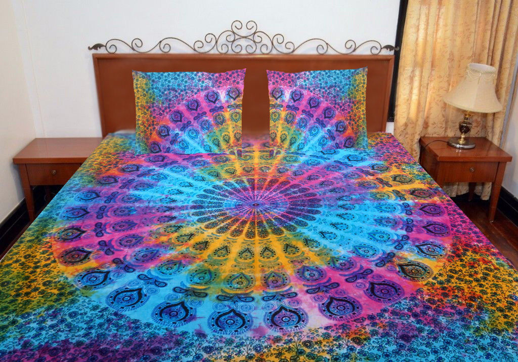 Primary image for Indian Tie Dye Peacock Mandala Bedding Set Queen/Double Quilt Duvet Cover Set