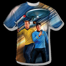 Star Trek Kirk and Spock Phasers Down Front Print Sublimation T-shirt XX... - $29.02